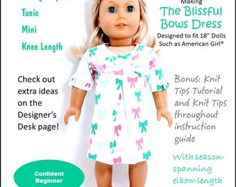 Pixie Faire Frog Princess Fashions Blissful Bows Doll Clothes Sewing Pattern for 18 Inch Dolls Such As American Girl - PDF
