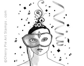 MASQUERADE party girl - Carnival, Mardi Gras- CLiNG RuBBer STAMP by Cherry Pie R588