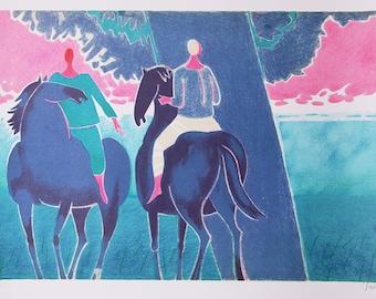 "Vintage Large and Colorful Lithograph "" Couple De Cavaliers"" - Albert Zavaro"