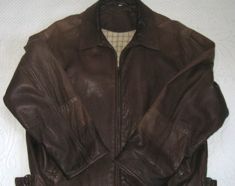 Brown Leather Bomber Jacket . bomber style jacket . brown leather jacket . pebbled leather jacket . brown leather jacket