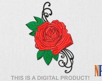 INSTANT DOWNLOAD - Rose machine embroidery design. Flower embroidery. Plants embroidery. Flowers. Embroidery file