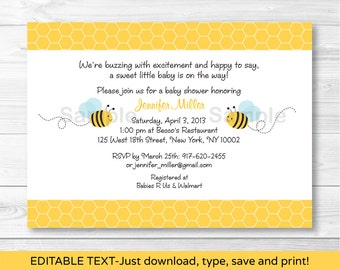 Bumble Bee Baby Shower Invitation / Bee Baby Shower Invite / Bee Baby Shower / Baby Boy Shower / INSTANT DOWNLOAD Editable PDF A214