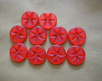 10 Round Red Star Buttons 16mm