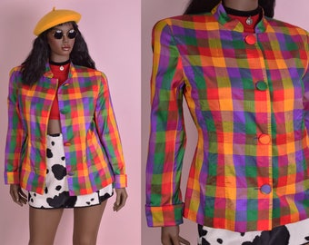 80s Colorful Gingham Silk Jacket/ US 14/ 1980s