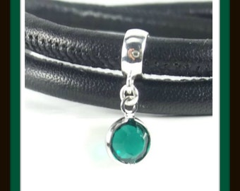 May Birthstone, Sterling Silver, Emerald Charm, Birthstone Charm Bracelet, Emerald Jewelry, Birthstone Charm Bead, Family Bracelet, Green