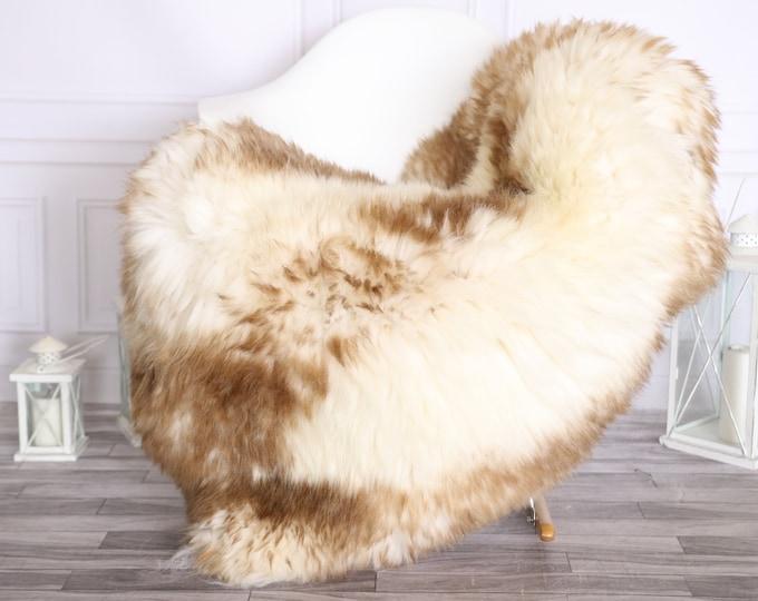 Sheepskin Rug   Real Sheepskin Rug   Shaggy Rug   Scandinavian Rug     SCANDINAVIAN DECOR   White Brown Sheepskin #OLHER7