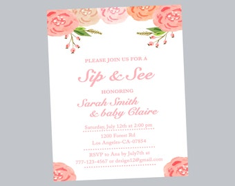 twinkle twinkle sip and see invitation baby shower invite