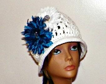 White Cloche Hat Womens Summer Flapper Downton Abby Blue White  Flower Brooch Crochet Gatsby Bucket Womens 1920s Style