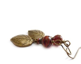 Cinnamon Red Earrings - Bronze Leaves - Rustic Earrings - Boho Jewelry - Floral Leaf Drop Earrings