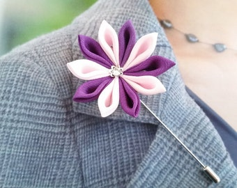 Lapel Pin, Brooch, Pink, Purple Silk Flower, Boutonniere