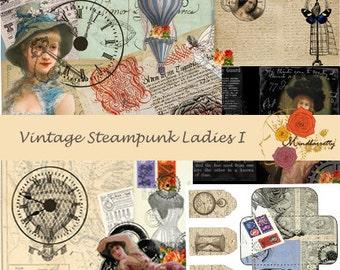 Vintage Steampunk Ladies I (digital paper)