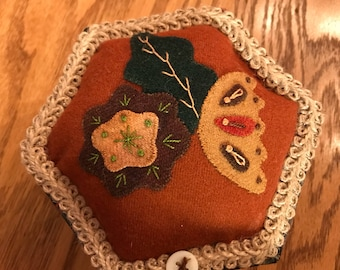 """Wool Applique Covered Box, 5"""" Hexagon"""