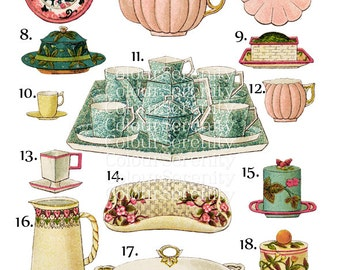 Vintage Tea time Clip Art Printable Instant Download 22 images