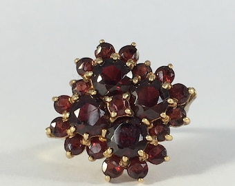 Vintage Garnet Cluster Ring in 14k Yellow Gold. Unique Engagement Ring. Statement Ring. January Birthstone. 2 Year Anniversary Gift.
