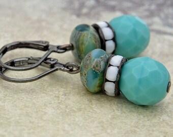 Czech glass earrings, vintage style