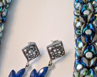 Brilliant blue crystal dangle earrings