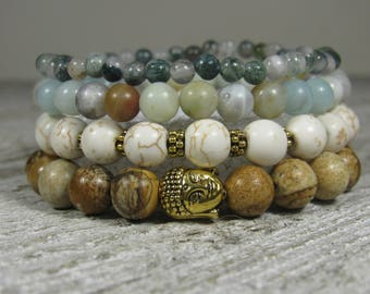 Picture Jasper, Howlite, Amazonite and Indian Agate Quad Stacked Bracelets