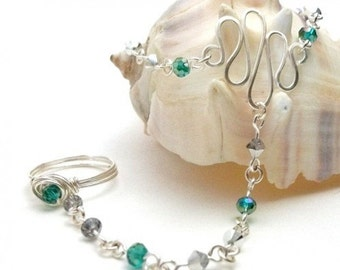 May Birthstone Slave Bracelet Ring Attached Silver and Emerald Green Swarovski Crystal