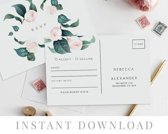Rsvp Postcard Printable INSTANT DOWNLOAD, Wedding Rsvp Card DIY Printable Invitation, Templett, Editable pdf, Rustic Invites, The Duchess