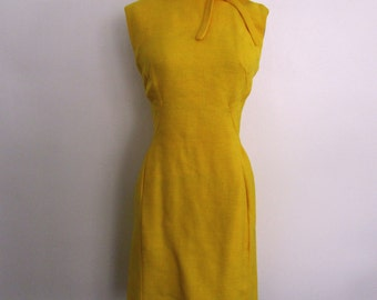 1960s yellow wiggle dress // vintage 60s yellow day dress // medium // daphne