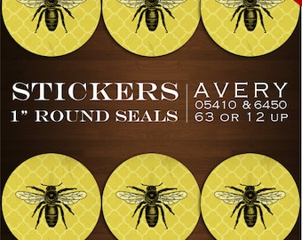 "Vintage Bee Stickers - 1"" Round Apiary Label Sticker Envelope Seals - Honey Bee Avery 05410 6450 Labels Stickers Bottlecaps Invitation Seal"