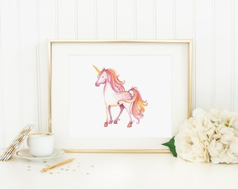 Unicorn Printable Unicorn Wall Art Nursery Unicorn Prints Pink Unicorn Wall Decor Magical Nursery Art Watercolor Unicorn Girl Nursery Decor