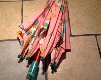 Child's Pink Parasol or Umbrella
