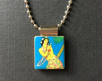 Handmade Vintage Hula Dancer pendant, vintage Hawaiian jewelry, recycled scrabble tile jewelry, vintage Hawaiian hula girl necklace, summer