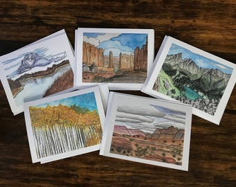 Watercolor cards | Greeting cards | Blank cards | nature cards