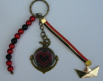 Bag charm or Keychain heart hand embroidered Brittany