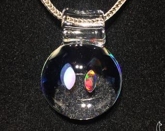 Multi Gilson Opal Pendant #4 - 1.51'' x 1.10'' - White & Black Marquise - Borosilicate Glass Pendant
