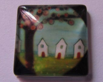 set of 2cabochons theme tree 20 mm * 20 mm square glass