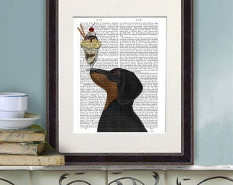 Gift for doxie lover -  Dachshund black and tan Ice cream dog - Dachshund gift ideas Doxie decor Doxie dog Dachshund art Dachshund artwork