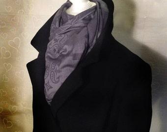 Graphite Grey Jacquard Cashmere and Silk Ombre Pashmina Shawl Scarf