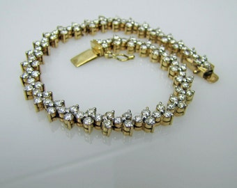 14K Gold 3.25 Carat Diamond Floral Cluster Tennis Bracelet. 108 Diamonds. Vintage Bridal Anniversary Wedding Jewelry With 6K Appraisal