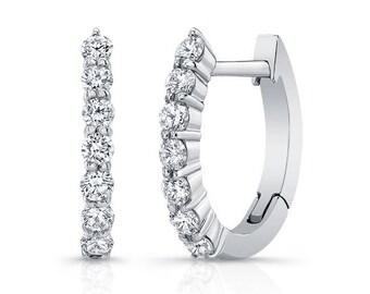 Barkevs, White Gold & Diamond Hoop Earrings, Gold Earrings, Diamond Earrings, Earrings, Hoop Earrings, Diamond Huggie Earrings, M2001E