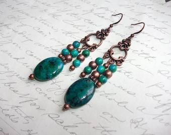 Chrysocolla green stones long copper earrings