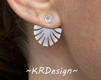 """Sterling Silver """"Fan""""- Ear Jacket-Swirl Earrings / Free US Shipping"""