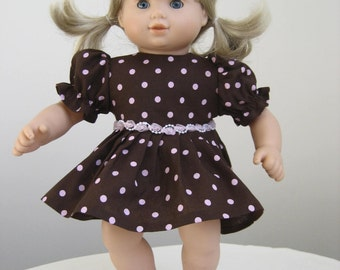 Doll Clothes-Made  For  BITTY BABY DOLLS, Brown and PInk Polka Dot Dress Fits Bitty Baby and Bitty Twins