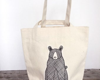 Eco Lunch Bag - Canvas Lunch Bag - Work Lunch Bag - Fabric Lunch Bag - School Lunch - Reusable Lunch Bag - Bear Lunch Bag