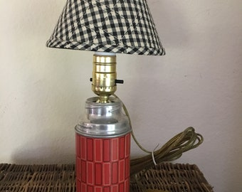 Vintage Thermos Lamp Red Adorable