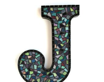 """Mosaic Letters by Request. Style: Black Confetti, 9"""" Mosaic Wall Decor"""
