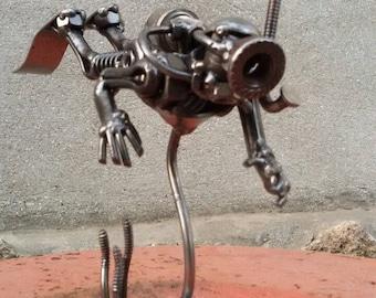 Scuba diver. Diving. Sculpture from metal.