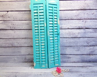 Distressed Wood Shutter Robins Egg Blue White Shabby Decor Costal Beach Decor