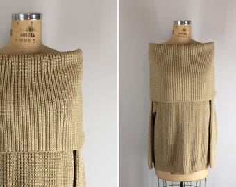 Vintage 1990s Donna Karan, New York Off the Shoulder Metallic Shaker Knit Wool Sweater / DNKY Convertible Cowl Neck Sweater