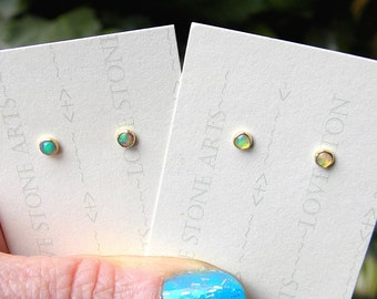 14K Gold Filled Natural Opal Stud Earrings, 3mm AAA+ Welo Opals on 14K Gold Filled Posts