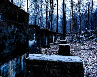 New England, Ghost Town, Livermore, New Hampshire, Woods in Winter, Foundation, Brick Wall, Trees, Winter, Abandoned, Rural Decay, Rurex