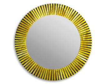 Large Round Mosaic Tile Wall Mirror for Yellow Home Décor
