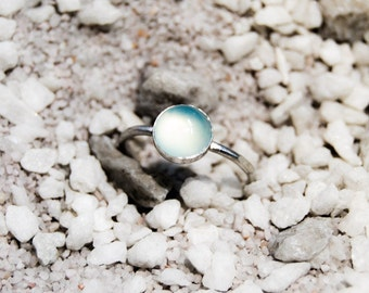 Handmade 8mm Chalcedony ring, sterling silver, stacking ring, aqua blue ring, skinny ring
