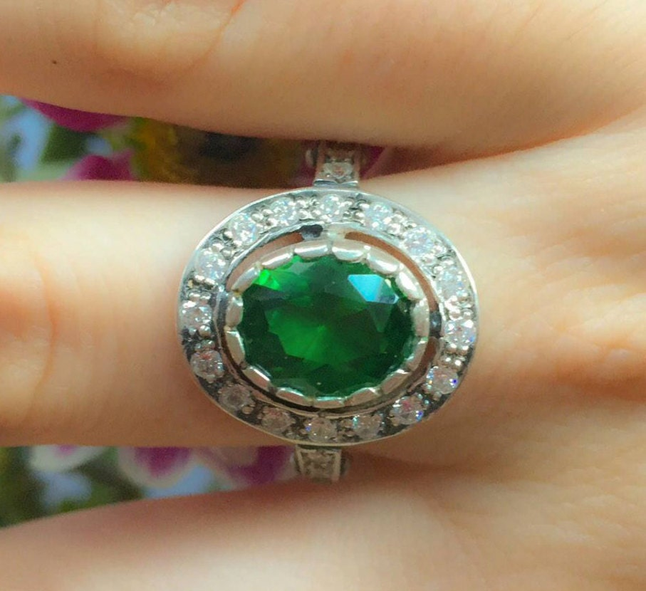 micropave plated white cubic green rings in sterling zirconia tourmaline silver ring micropav emerald over p gold and
